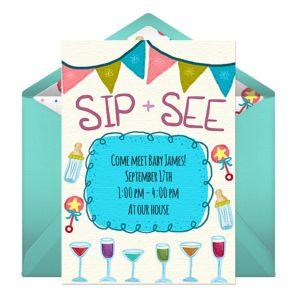 Online Baby Sip See - Teal Invitations