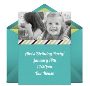 Online Simple Frame - Blue Photo Invitations