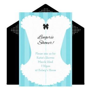 Online Lingerie Shower - Teal Invitations