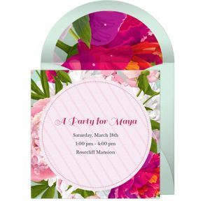 Online Peony Bouquet Invitations