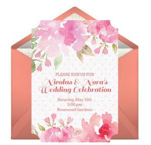 Online Peony Wedding Invitations