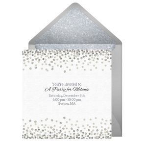 Online Silver Sparkle Invitations