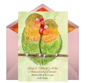 Online Anniversary Lovebirds Invitations
