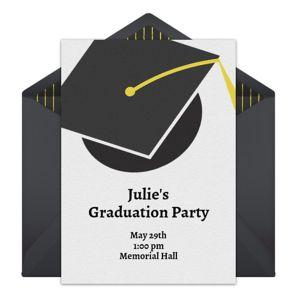 Online Graduation Cap - Black Invitations