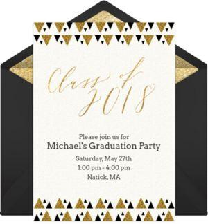 Online Glittering Graduation - Tan Invitations