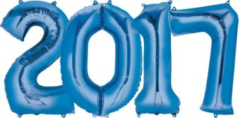 Giant Blue 2017 Number Balloons 4pc