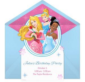 Online Disney Princess Winter Invitations