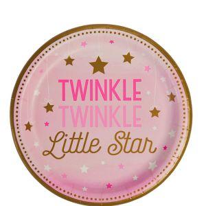 Pink Twinkle Twinkle Little Star Dessert Plates 8ct