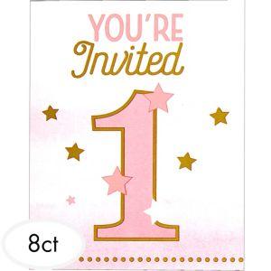 Pink Twinkle Twinkle Little Star 1st Birthday Invitations 8ct