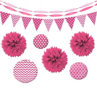 Bright Pink Polka Dot & Chevron Decorating Kit