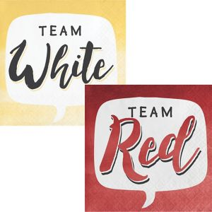 Team Red or Team White Beverage Napkins 16ct