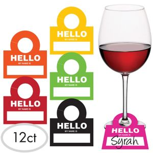 Wine Glass Hello Name Tags 12ct