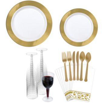 Premium Gold Border Tableware Kit for 20 Guests