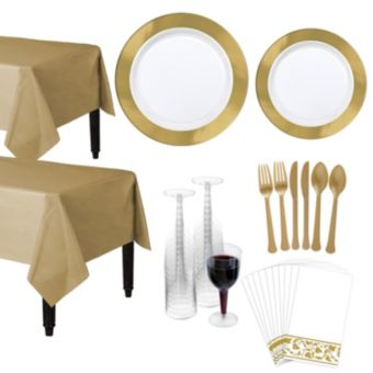 Premium Gold Border Deluxe Tableware Kit for 20 Guests