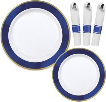 Premium Gold & Royal Blue Border Tableware Kit for 20 Guests