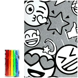 Glitter Smiley Coloring Poster with Markers