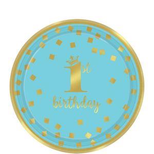 Metallic Blue & Gold Confetti 1st Birthday Dessert Plates 8ct
