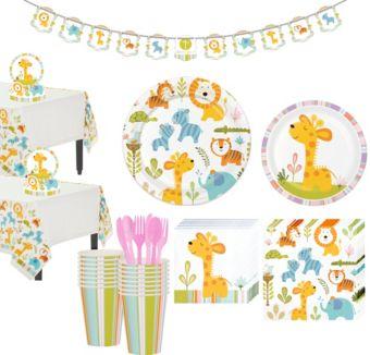 Happy Jungle Giraffe Premium Baby Shower Tableware Kit for 16 Guests