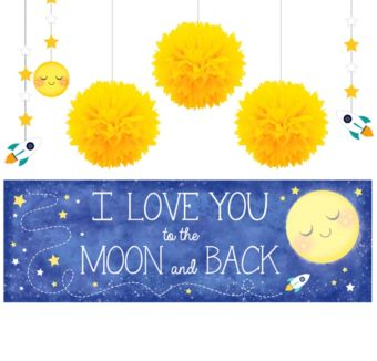 Moon & Stars Sunshine Yellow Decorations Shower Kit