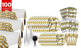 Metallic Best Day Ever Wedding Bridal Shower Tableware Kit for 100 Guests