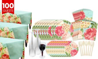 Blissful Blooms Bridal Shower Tableware Kit for 100 Guests