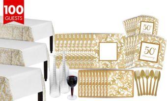 Golden Wedding Bridal Shower Tableware Kit for 100 Guests