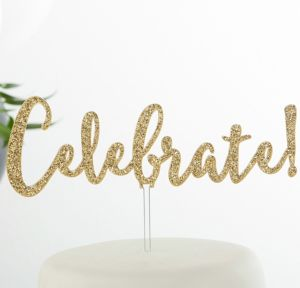 Glitter Gold Celebrate Cake Topper