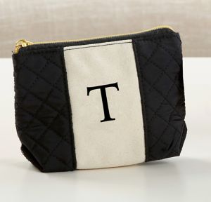 Black & White Monogram T Makeup Bag