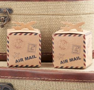 Let the Adventure Begin Airplane Kraft Favor Boxes 24ct
