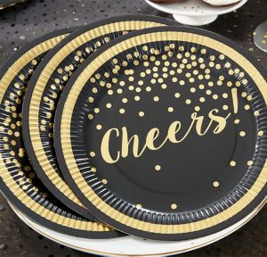 Gold Polka Dot Cheers Lunch Plates 8ct