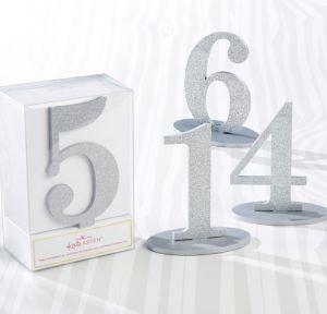 Glitter Silver Table Numbers 1-6