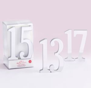 Mirrored Silver Table Numbers 13-18