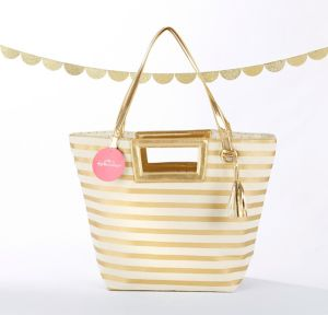 Gold Striped Tote Bag
