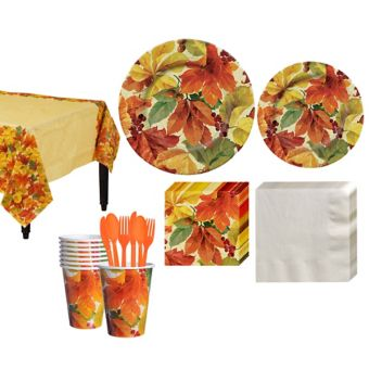 Elegant Leaves Fall Tableware Kit for 32 Guests