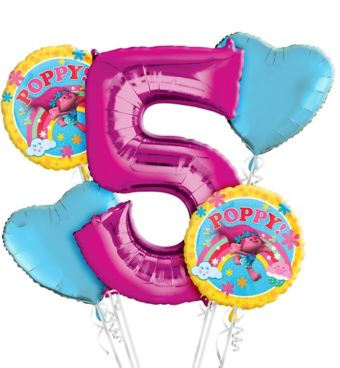 Trolls 5th Birthday Balloon Bouquet 5pc