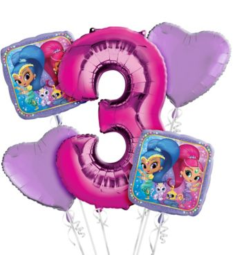 Shimmer and Shine 3rd Birthday Balloon Bouquet 5pc