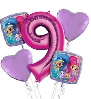 Shimmer and Shine 9th Birthday Balloon Bouquet 5pc