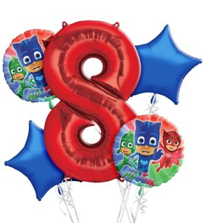 PJ Masks 8th Birthday Balloon Bouquet 5pc