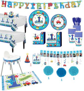 All Aboard 1st Birthday Deluxe Party Kit for 38 Guests