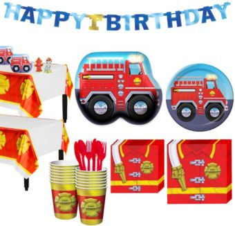 Firefighter 1st Birthday Party Kit for 16 Guests