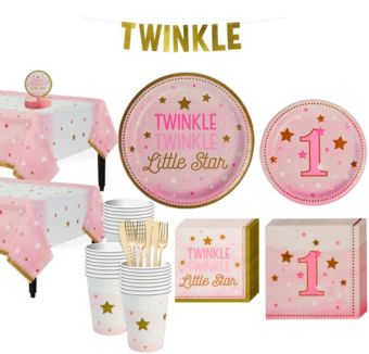Pink Twinkle Twinkle Little Star 1st Birthday Party Kit for 32 Guests