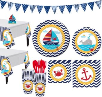 Ahoy Nautical 1st Birthday Party Kit for 16 Guests