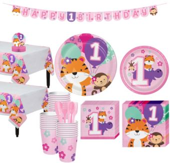 Pink One is Fun 1st Birthday Party Kit for 32 Guests