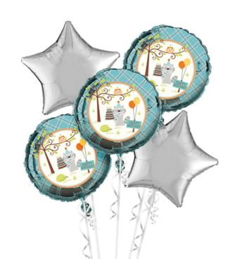 Boys Happi Woodland 1st Birthday Balloon Bouquet