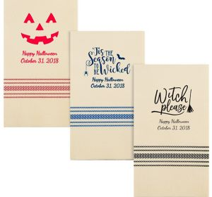 Personalized Halloween Herringbone Guest Towels