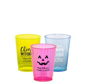 Personalized Halloween Neon Hard Plastic Cups 10oz