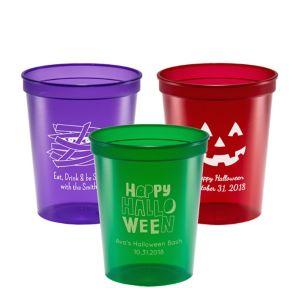 Personalized Halloween Translucent Plastic Stadium Cups 16oz