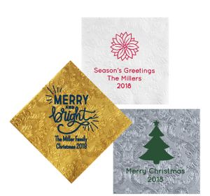 Personalized Christmas Embossed Damask Lunch Napkins