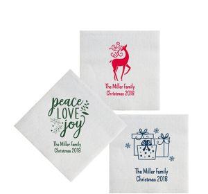 Personalized Christmas Luxury Deville Beverage Napkins