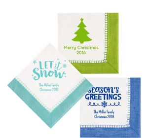 Personalized Christmas Bordered Lunch Napkins